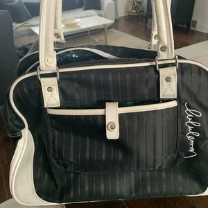 Lululemon black and white gym carry on duffle bag.
